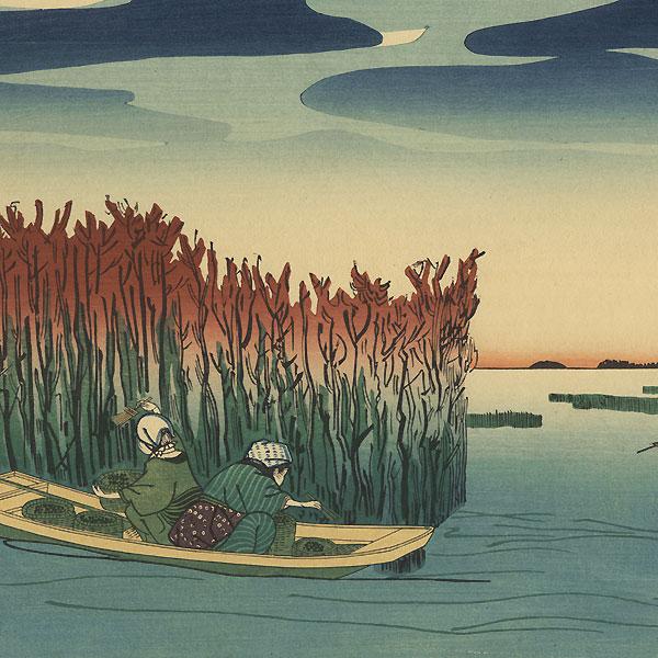 Gathering Seaweed at Omori  by Kuniyoshi (1797 - 1861)