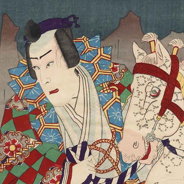 Samurai Encountering a Hermit by Kunisada III (1848 - 1920)