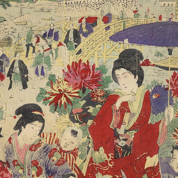 Watching a Street Musician by Meiji era artist (unsigned)