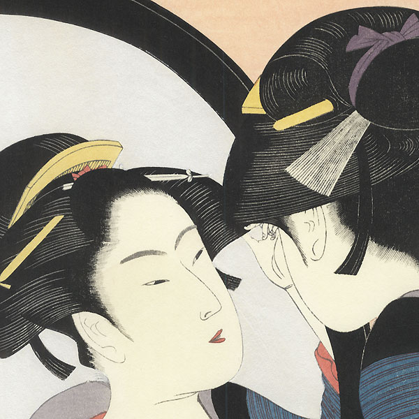 Beauty Using a Full Length Mirror  by Utamaro (1750 - 1806)
