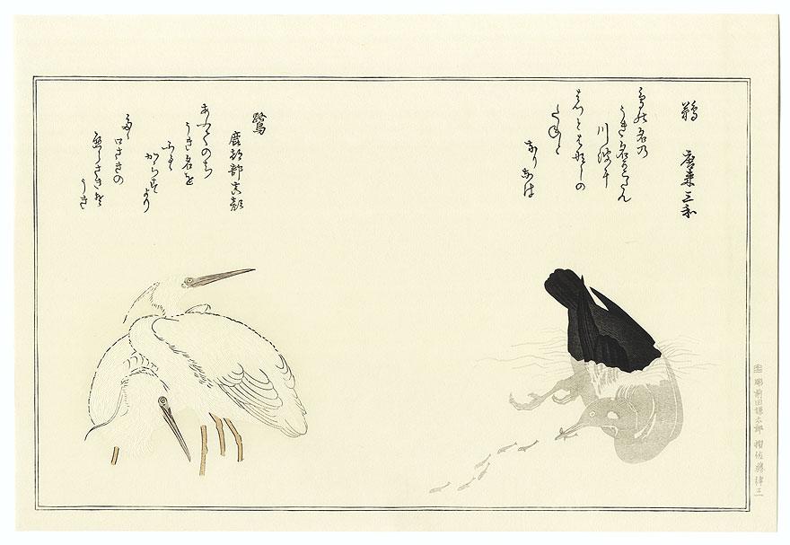 Cormorant and Egrets by Utamaro (1750 - 1806)