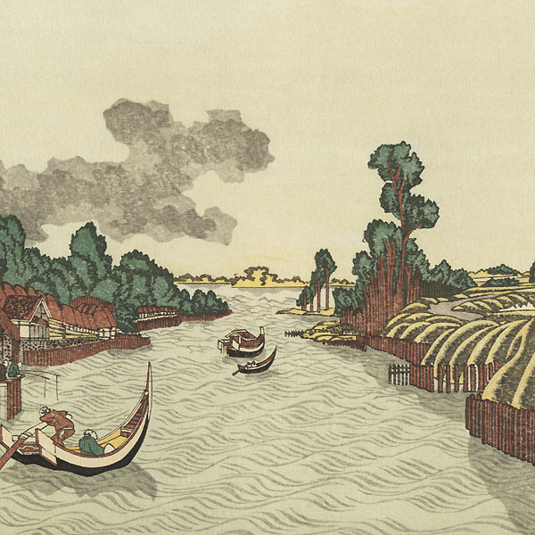 View of the Sumida River from Azuma Bridge by Hokusai (1760 - 1849)