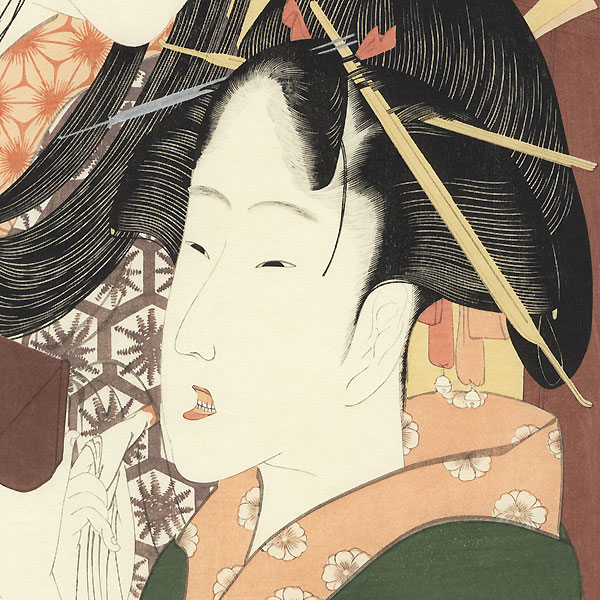 Girl with a Hozuki in her Mouth by Hokusai (1760 - 1849)