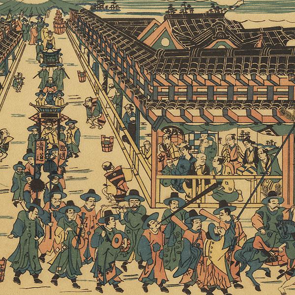 A Perspective Picture of a Festive Procession by Shigenaga (circa 1697 - 1756)