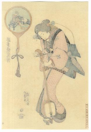 Beauty with a Shamisen by Toyokuni III/Kunisada (1786 - 1864)