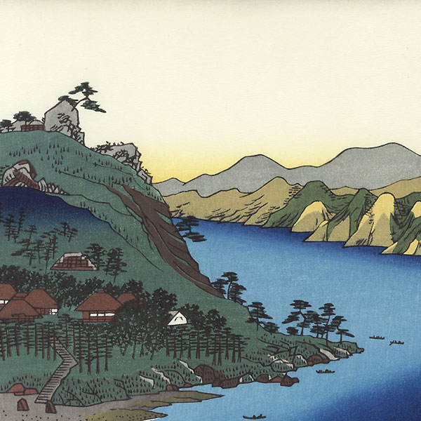 Totomi Province: Lake Hamana, Kanzan Temple in Horie and the Inasa-Horie Inlet by Hiroshige (1797 - 1858)