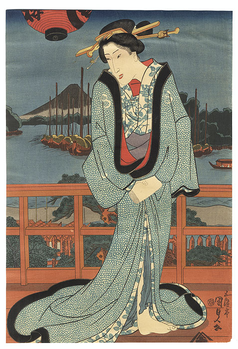 Beauty on a Verandah by Toyokuni III/Kunisada (1786 - 1864)