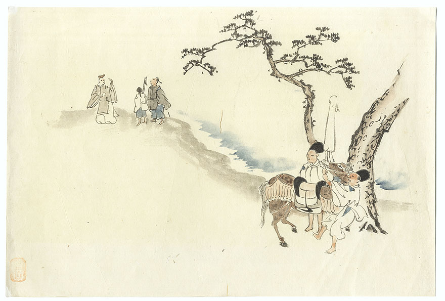 Nobleman Traveling Original Painting by Shin-hanga & Modern artist (unsigned)