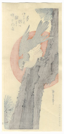 Goshawk, Pine Tree and Rising Sun by Hiroshige (1797 - 1858)
