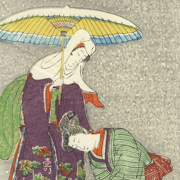 Beauty and Attendant in Snow by Koryusai (1735 - 1790)