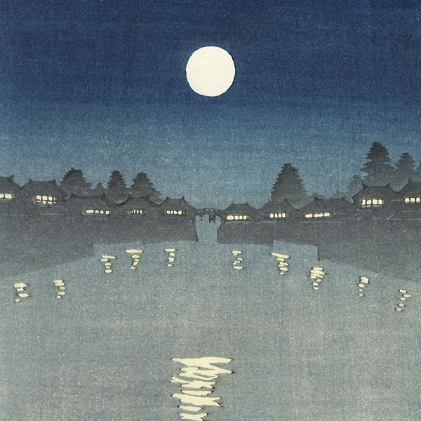 Pleasure Boat under a Full Moon by Hiroshige IV (active circa 1920s - 1930s)