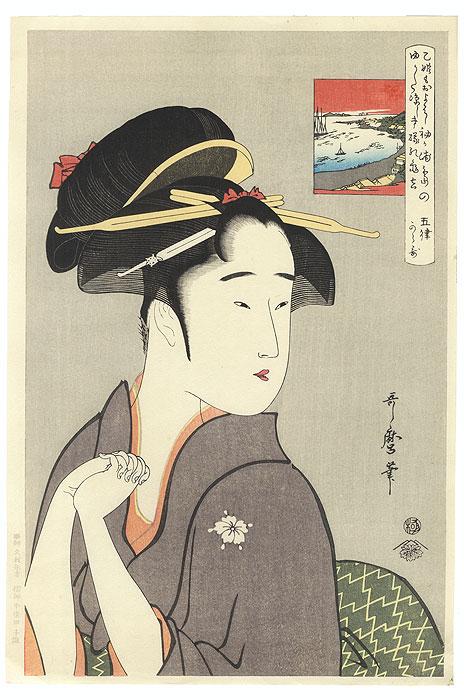 The Geisha Kamekichi of Sode-ga-ura by Utamaro (1750 - 1806)