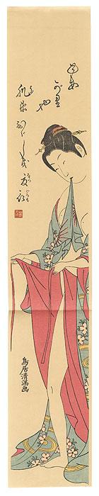 Beauty Dressing after a Bath Pillar Print by Kiyomitsu (1735 - 1785)