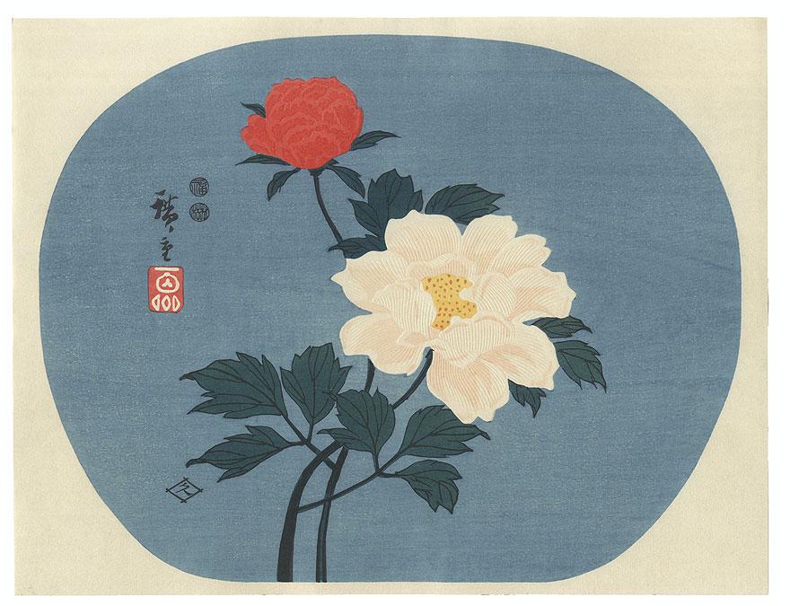 Camellia Fan Print by Hiroshige (1797 - 1858)
