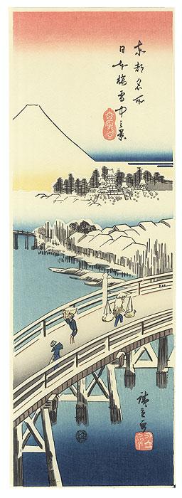 View of Nihonbashi Bridge in Snow by Hiroshige (1797 - 1858)