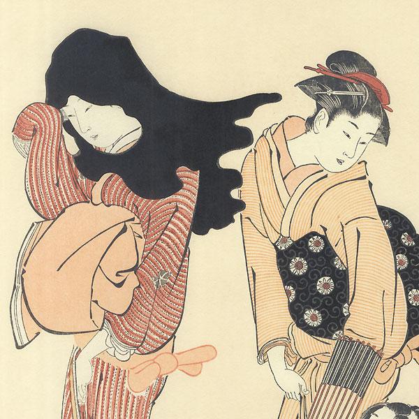 The Entangled Kite String by Kiyonaga (1752 - 1815)
