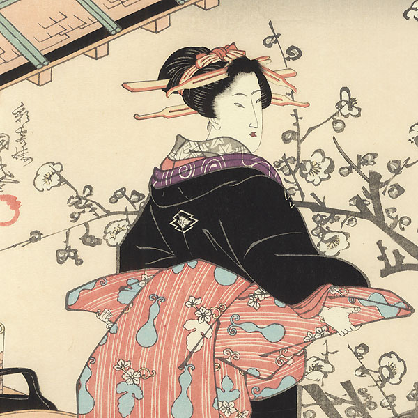 Beauty and Plum Blossoms by Kunimaru (1794 - 1829)