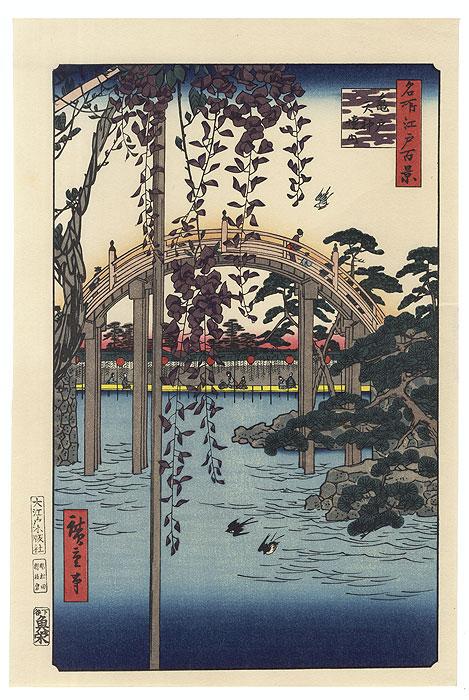 Inside Kameido Tenjin Shrine by Hiroshige (1797 - 1858)