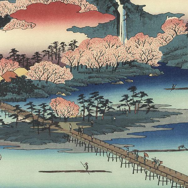 Yamashiro Province, The Togetsu Bridge in Arashiyama by Hiroshige (1797 - 1858)