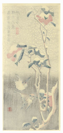 Sparrows, Flowering Camellia, and Snow by Hiroshige (1797 - 1858)