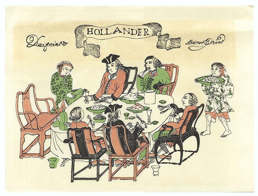 Dutch Traders Dining by Edo era artist (unsigned)