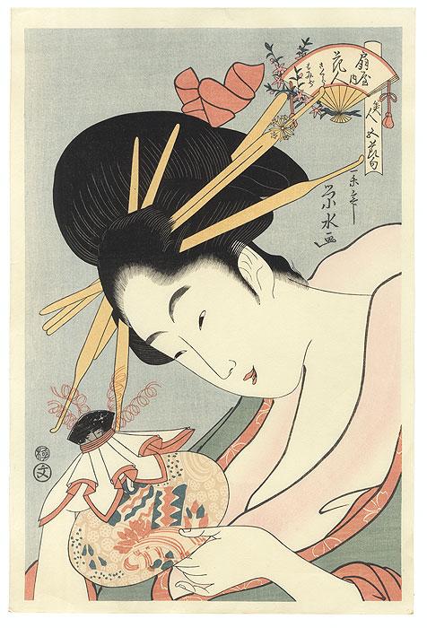 Hanahito of the Ogiya by Eisui (active circa 1790 - 1823)