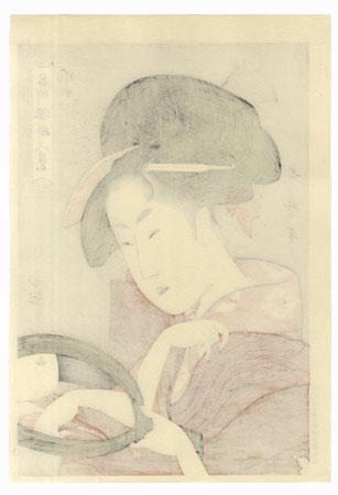Beauty with Hand Mirror  by Utamaro (1750 - 1806)