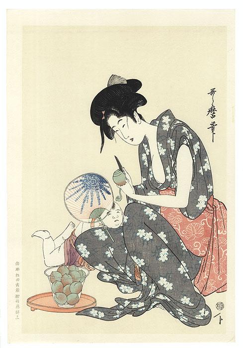 Beauty Peeling Fruit  by Utamaro (1750 - 1806)