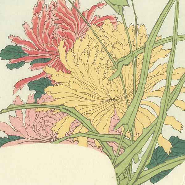 Chrysanthemums and Full Moon Fan Print by Hokusai (1760 - 1849)