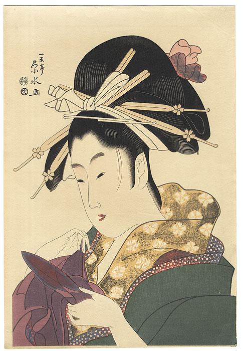 Courtesan Tsukioka of the Hyogo by Eisui (active circa 1790 - 1823)