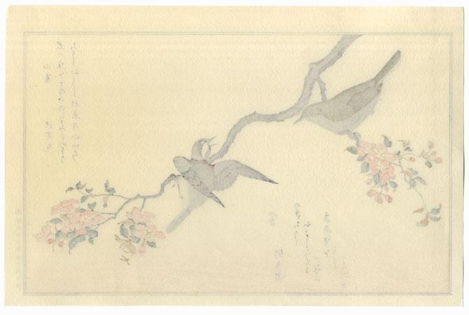 Penduline Tit and Bush Warbler by Utamaro (1750 - 1806)