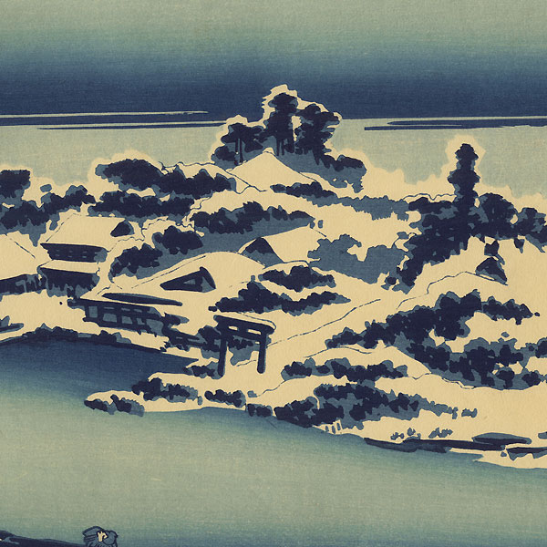 Snow-covered Shrine Buildings at the Edge of the Sumida River by Eisen (1790 - 1848)
