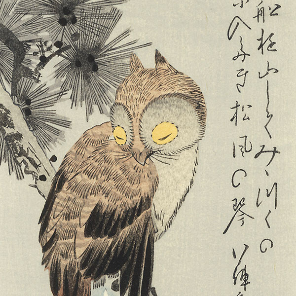 Owl on a Pine with Crescent Moon by Hiroshige (1797 - 1858)