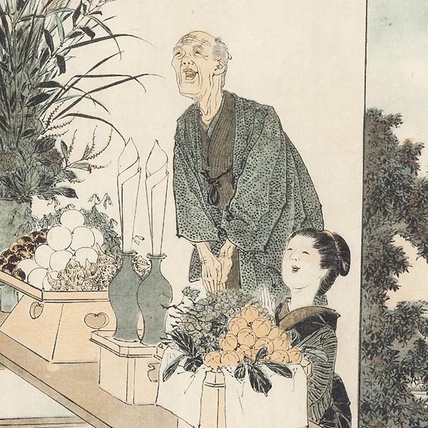 August: Moon Viewing Festival, 1890 by Meiji era artist (unsigned)