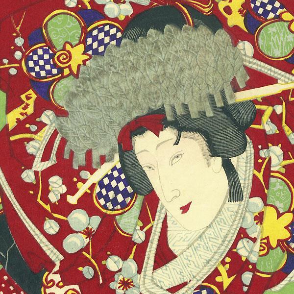 Palanquin Bearers and Kamuro, 1887 by Chikanobu (1838 - 1912)