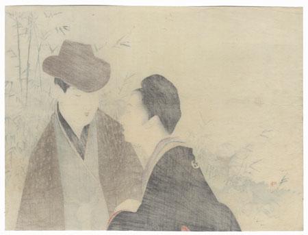 Couple in Conversation Kuchi-e Print by Takeuchi Keishu (1861 - 1942)