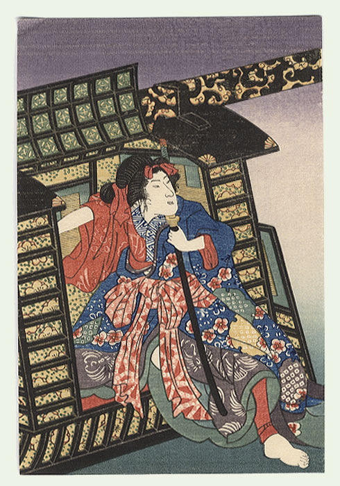 Beauty Emerging from a Palanquin by Edo era artist (unsigned)