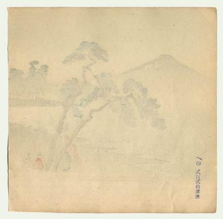 View of Mt. Fuji Fan Sample Print by Meiji era artist (unsigned)