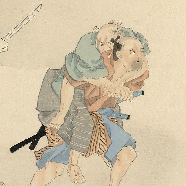 Horibe Yasubei and the Duel at Takadanobaba, 1921 by Fuku Matsumoto (1840 - 1923)