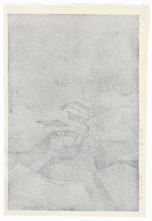 Snowstorm at Hataori, Shiobara, 1946 by Kawase Hasui (1883 - 1957)