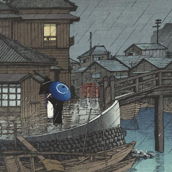 Rainy Season at Ryoshimachi, Shinegawa, 1931 by Hasui (1883 - 1957)
