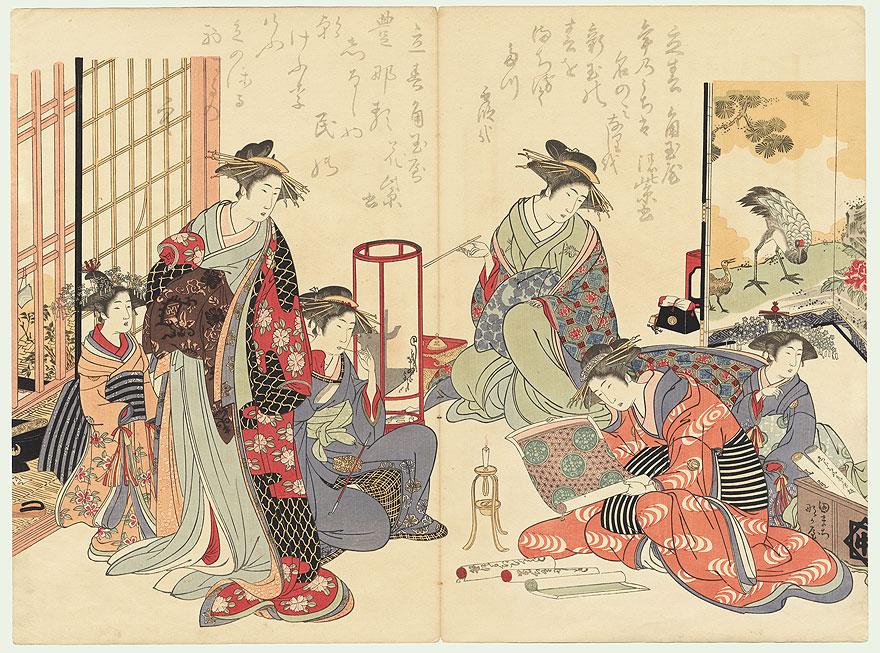 Courtesans Examining New Patterns by Masanobu (1761 - 1816)