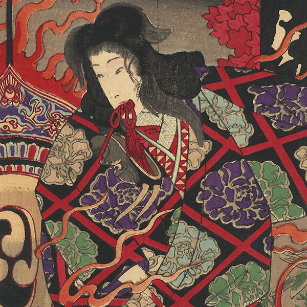 Beauty with Flaming Drum  by Meiji era artist (not read)