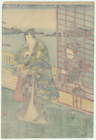 Prince Genji on a Verandah by Kunisada II (1823 - 1880)