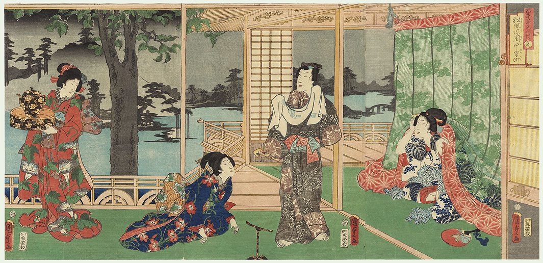 Prince Genji Retiring for the Evening by Kunisada II (1823 - 1880)