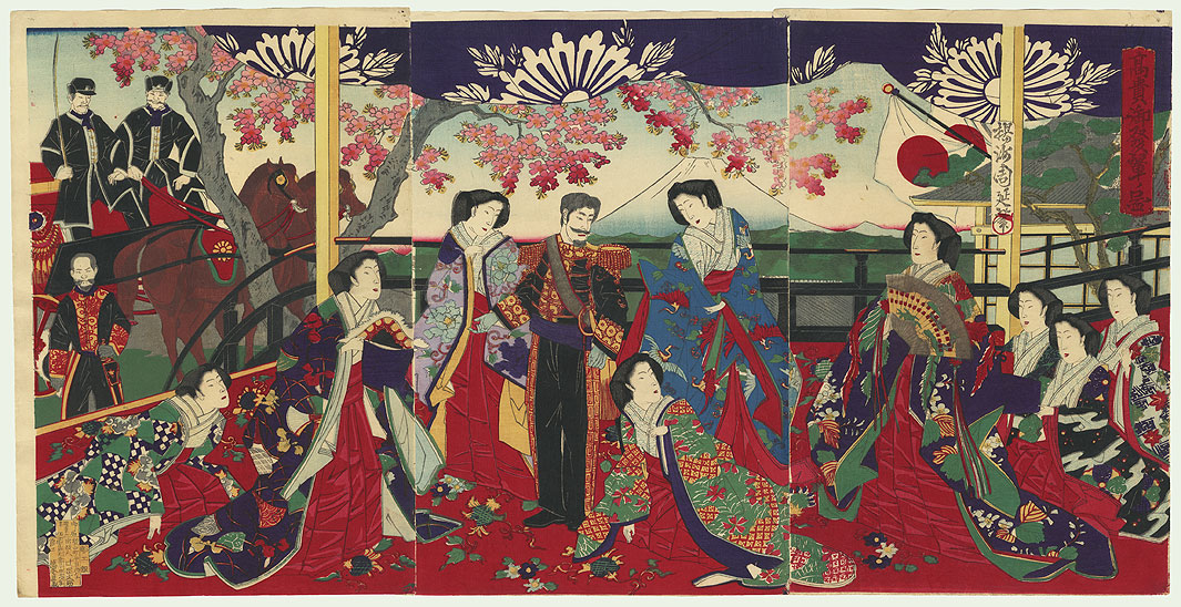Meiji Emperor and Empress Viewing Mt. Fuji, 1883 by Chikanobu (1838 - 1912)