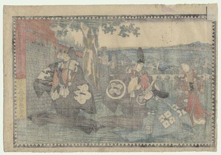 The 47 Ronin, Act 1: Tsurugaoka Hachiman Shrine: The Helmet Inspection by Kuniaki II (1835 - 1888)