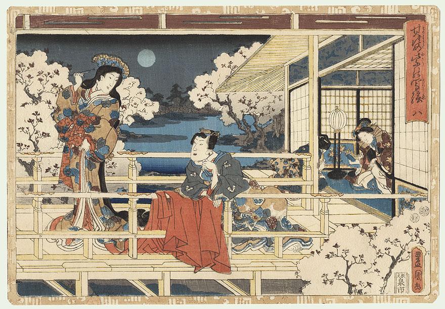 Hana-no-en, Tale of Genji, Chapter 8 by Toyokuni III/Kunisada (1786 - 1864)