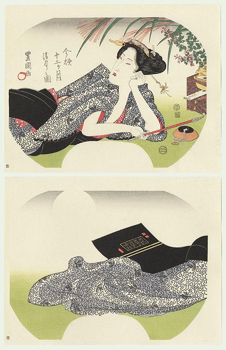 Beauty Reclining Fan Print by Toyokuni (1769 - 1825)