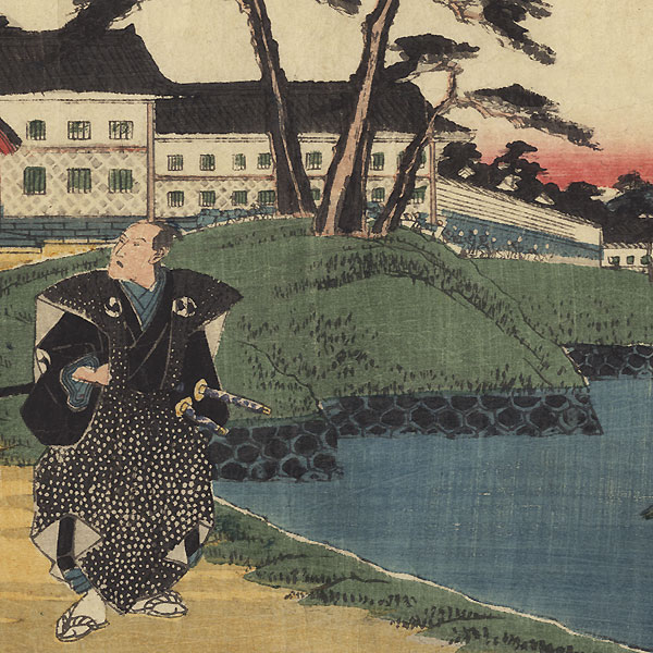 The 47 Ronin, Act 4: Yuranosuke Swears Revenge Outside his Master's Mansion in Edo by Hiroshige (1797 - 1858)